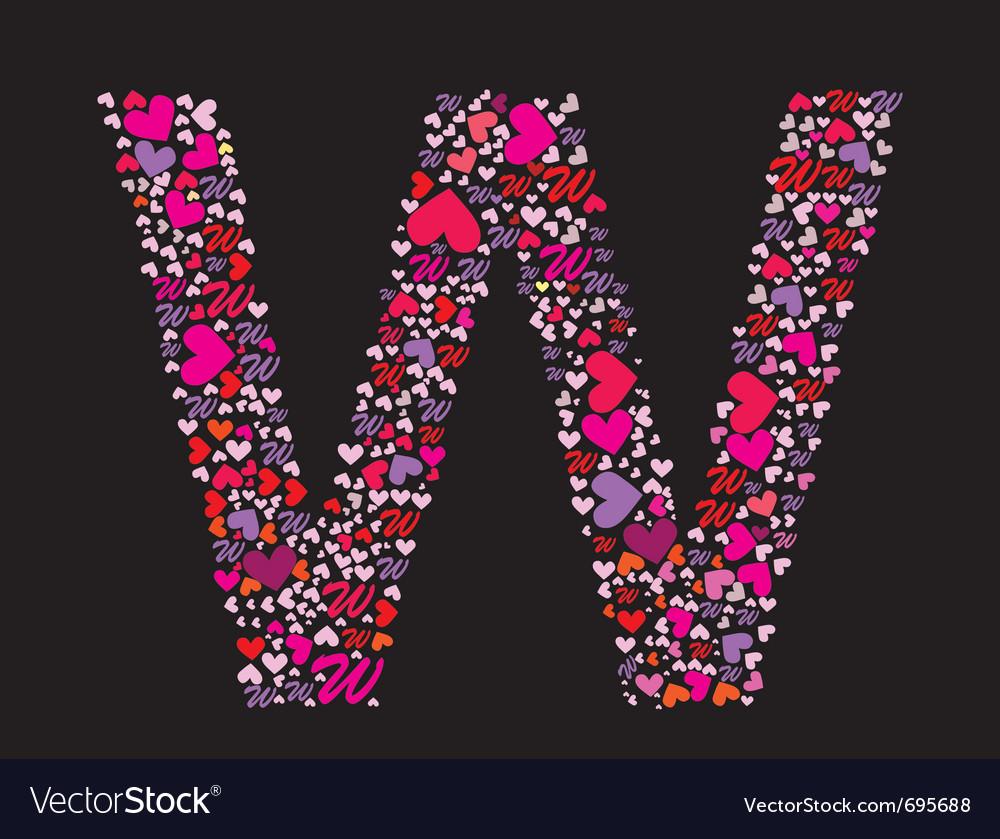 Letter w valentine alphabet vector | Price: 1 Credit (USD $1)