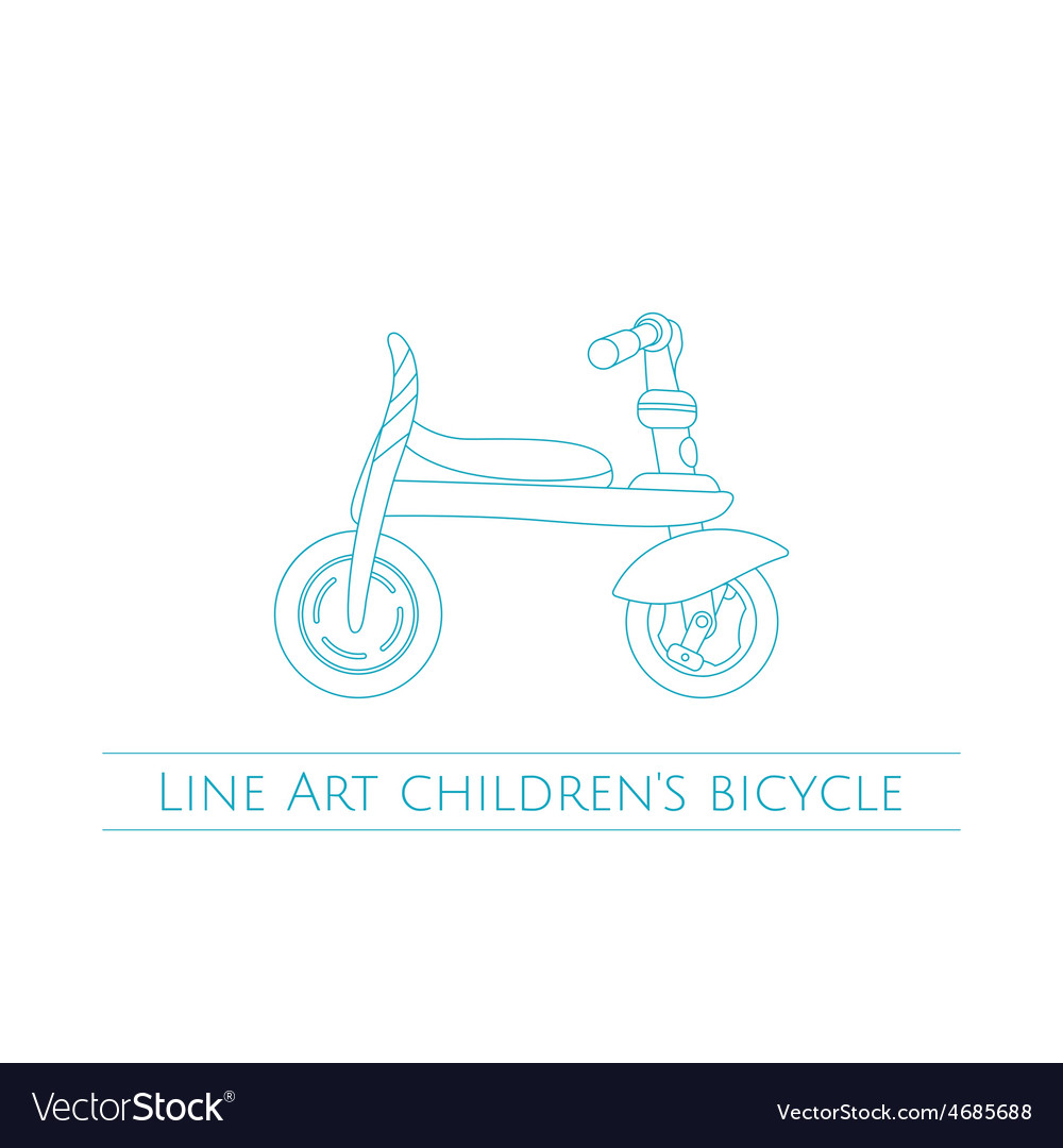 Line art childrens bicycle one vector | Price: 1 Credit (USD $1)