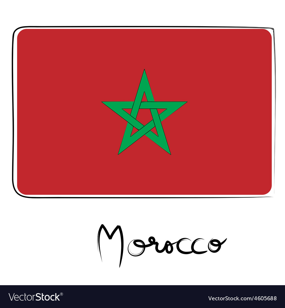 Morocco flag doodle vector | Price: 1 Credit (USD $1)