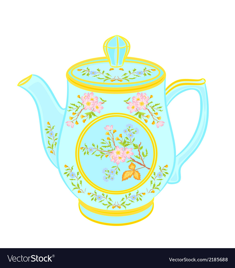 Porcelain teapot with floral pattern part tea serv vector | Price: 1 Credit (USD $1)