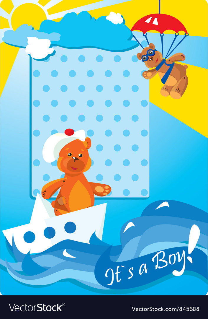 Portrait border with teddy bears for a baby boy vector | Price: 1 Credit (USD $1)