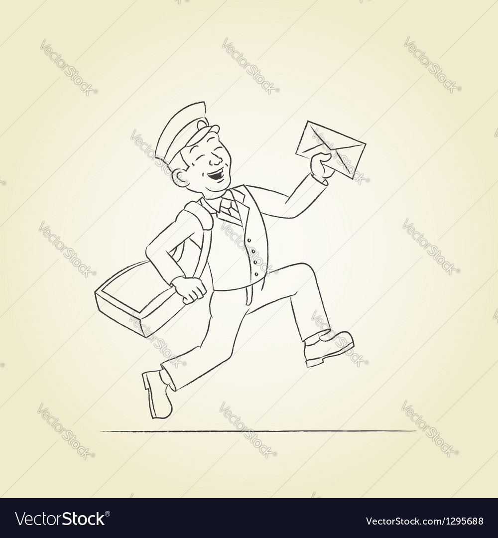 Postman sketch vector | Price: 1 Credit (USD $1)