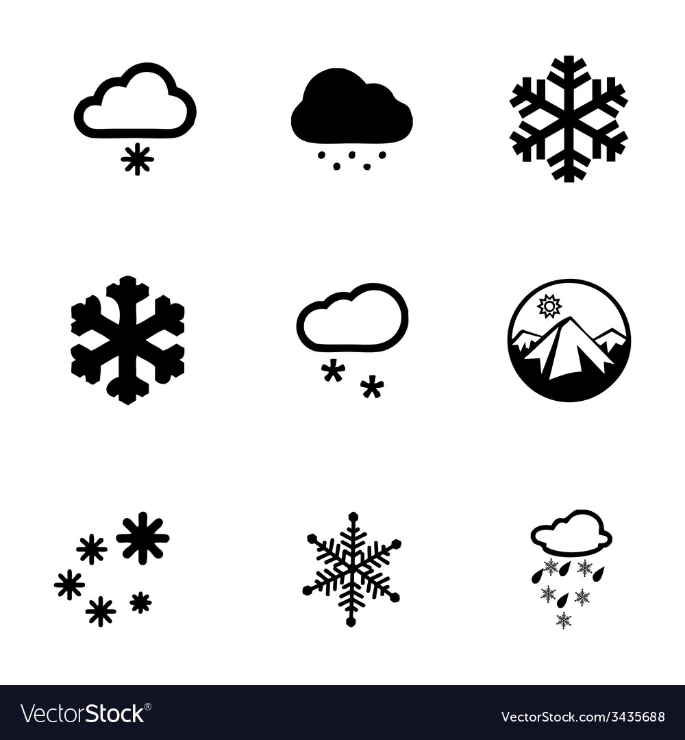 Snow icon set vector | Price: 1 Credit (USD $1)