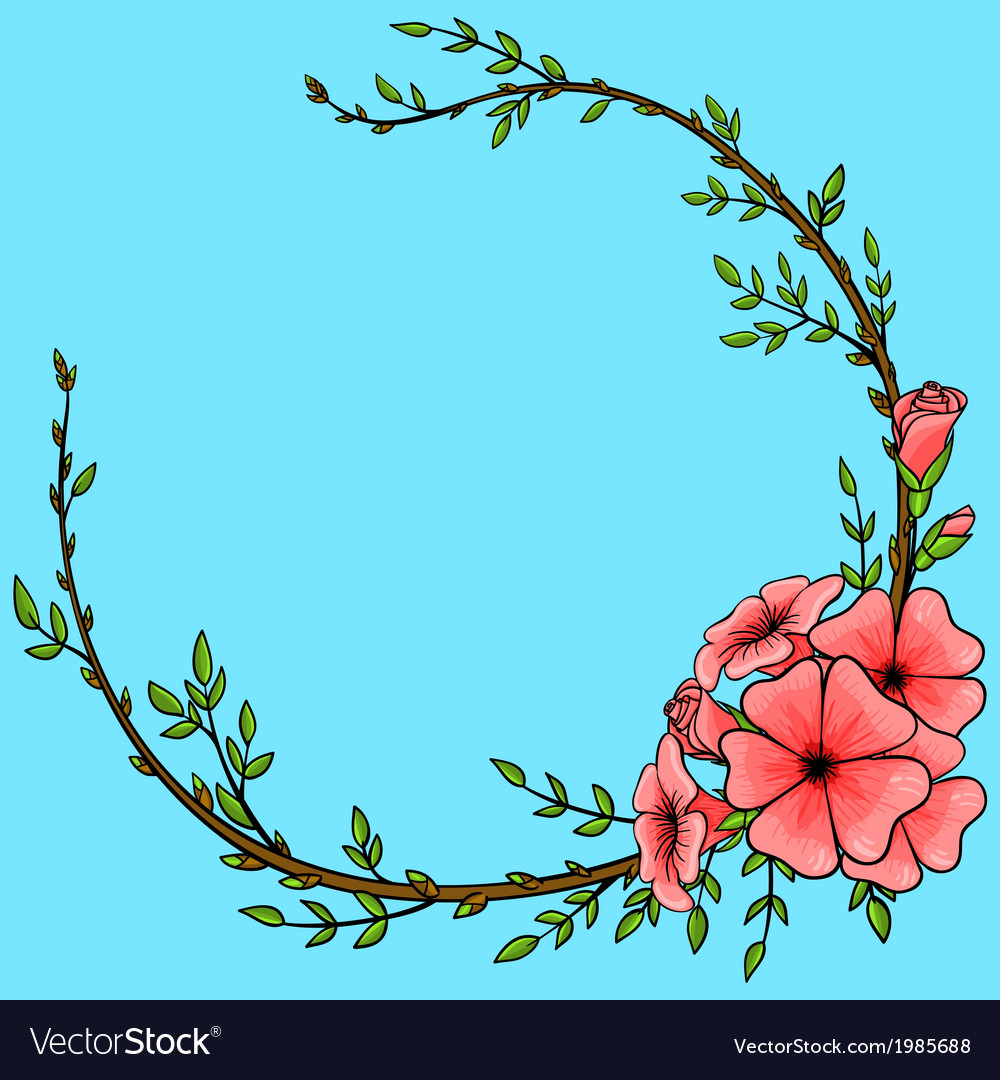 Vintage background with cartoon flower wreath vector | Price: 1 Credit (USD $1)