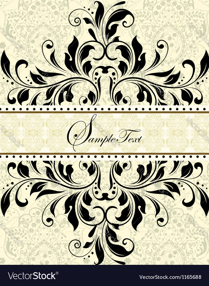 Vintage invitation card with abstract floral backg vector | Price: 1 Credit (USD $1)