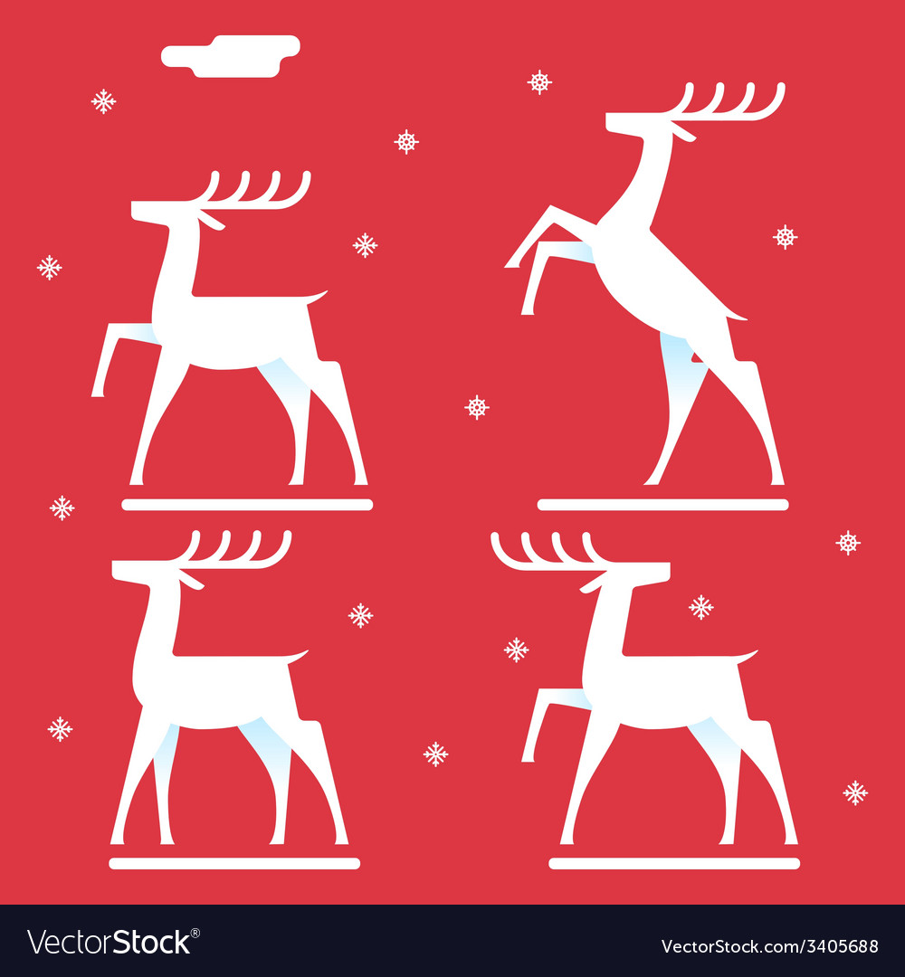 White deer silhouette logo icon new year symbol vector | Price: 1 Credit (USD $1)