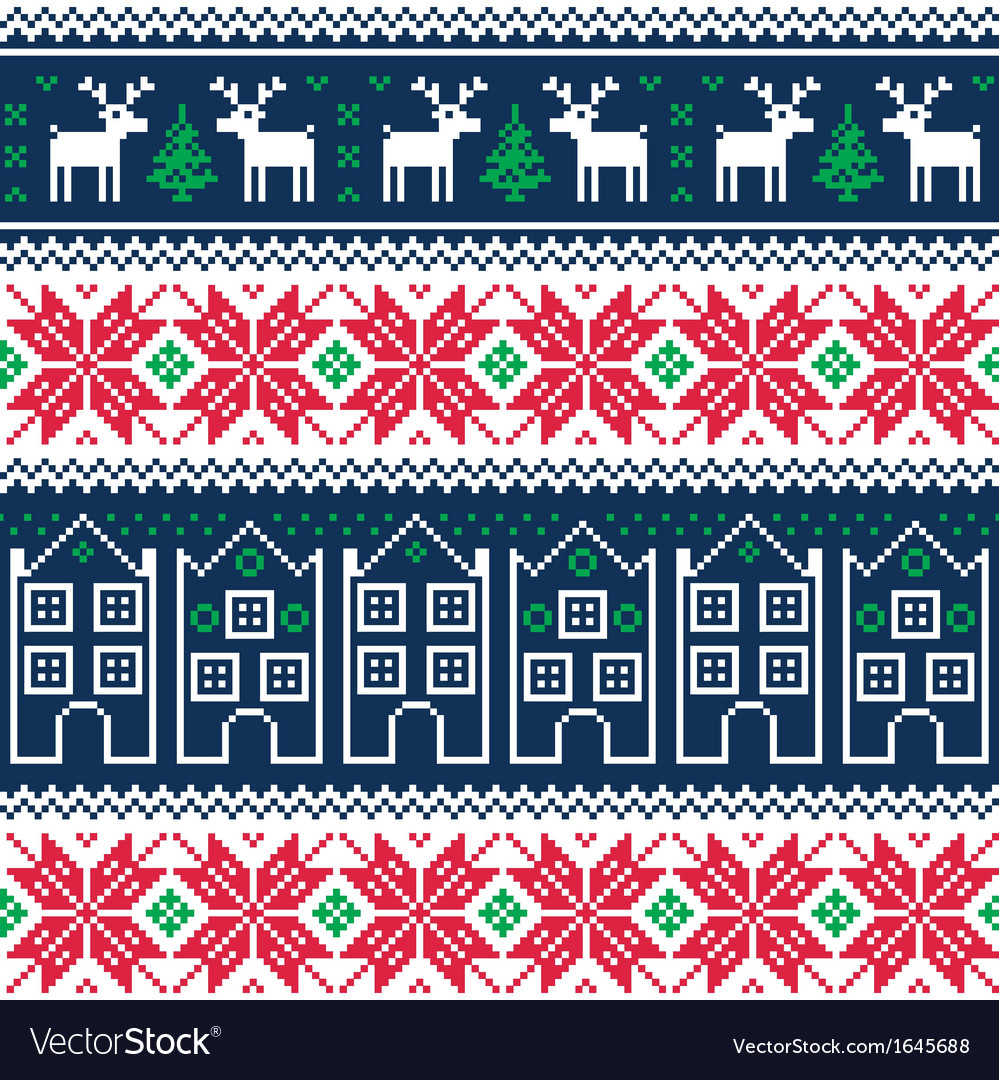 Winter christmas seamless pattern with reindeer vector | Price: 1 Credit (USD $1)