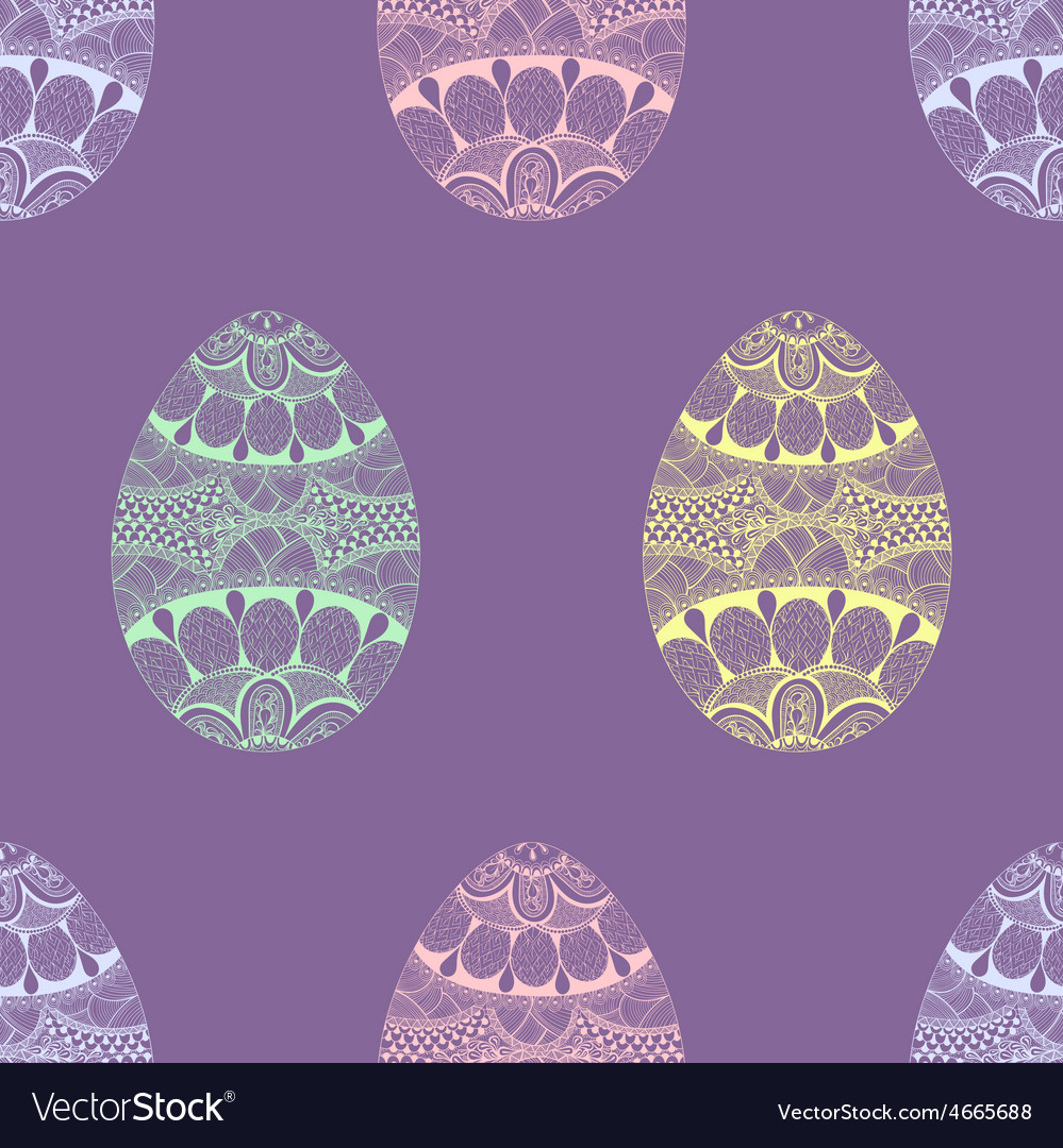 Zentangle stylized easter pastel eggs seamless vector | Price: 1 Credit (USD $1)