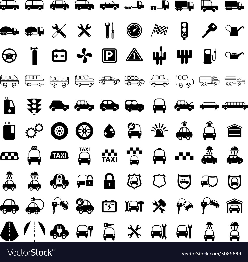 100 car and transport icons vector | Price: 1 Credit (USD $1)