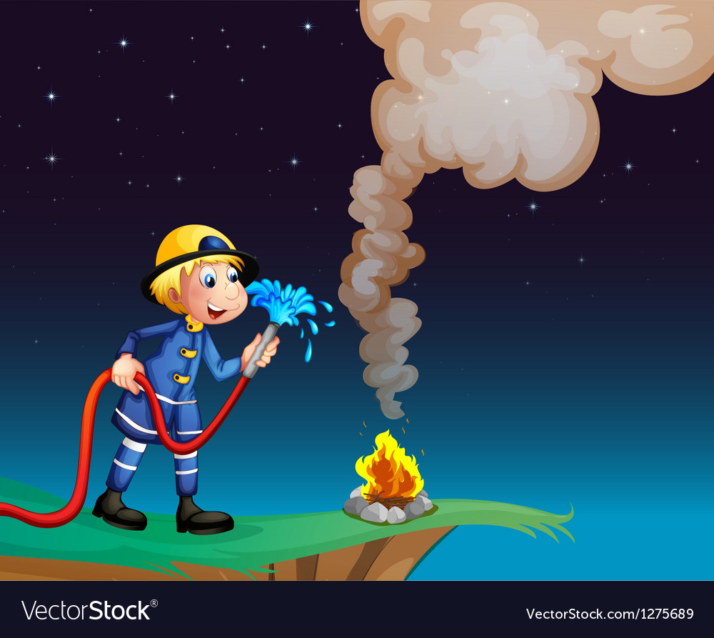 A fireman holding a water hose vector   Price: 1 Credit (USD $1)