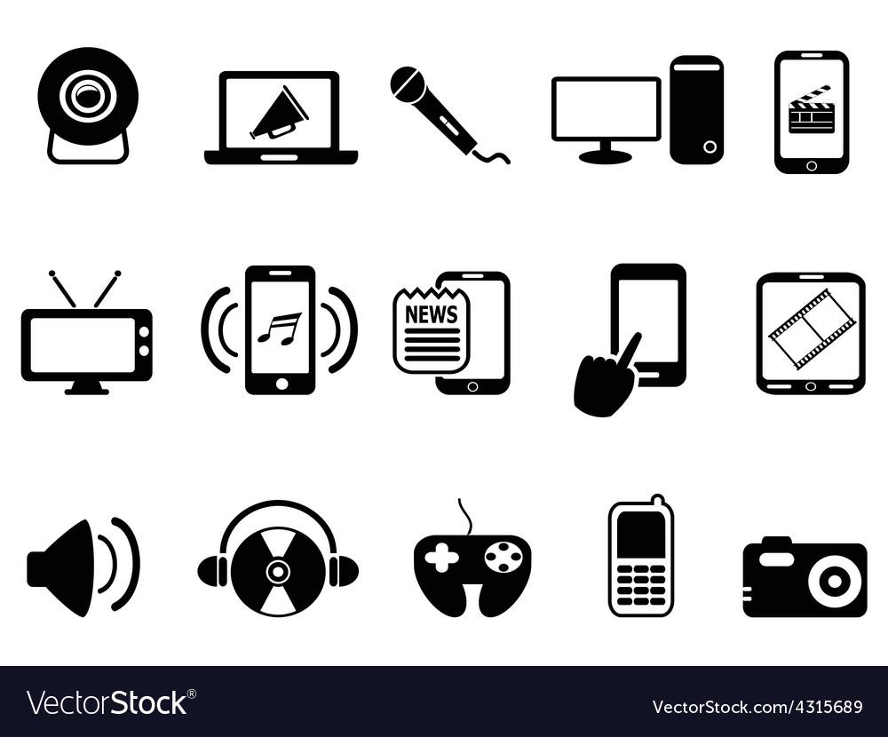 Black modern mobile media icons set vector