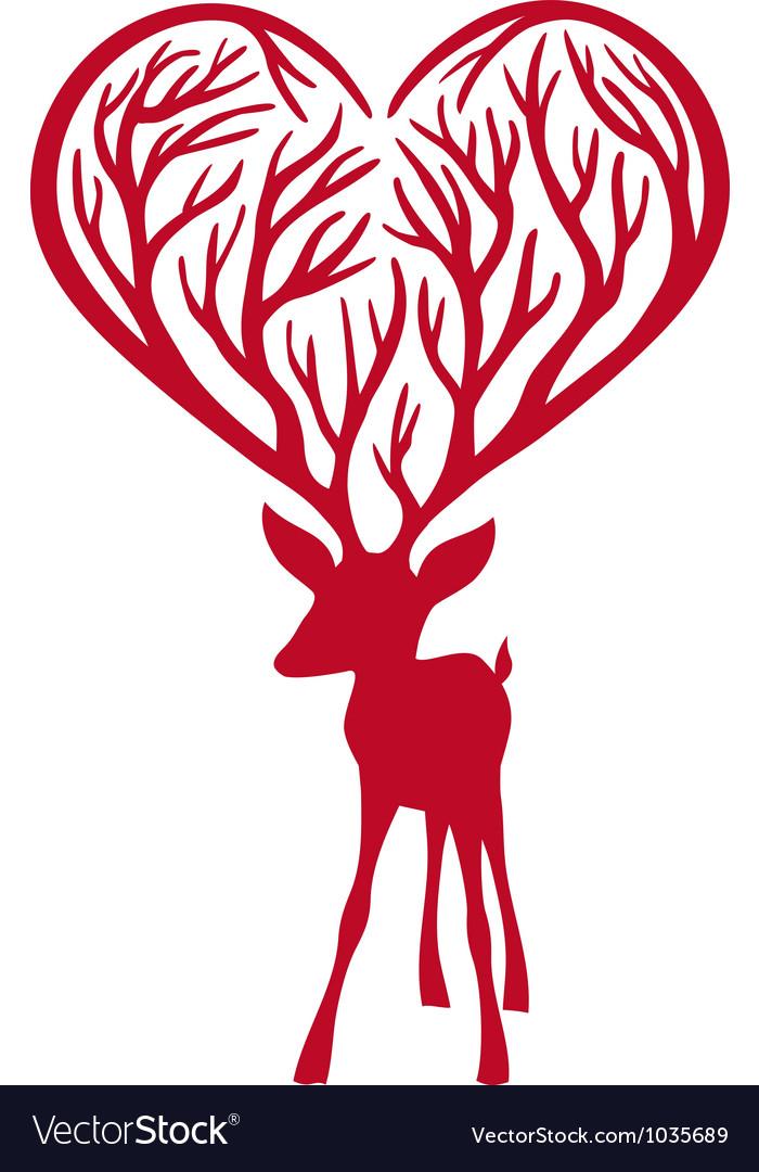 Deer with heart vector | Price: 1 Credit (USD $1)