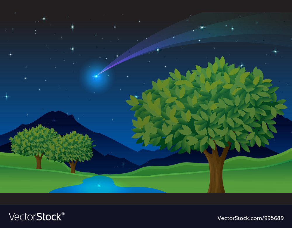 Evening landscape scene vector | Price: 1 Credit (USD $1)