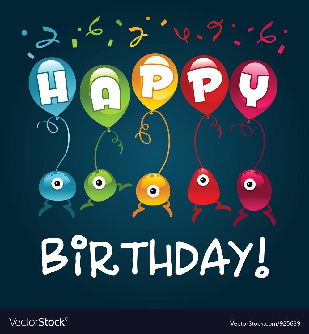 Happy birthday monsters vector | Price: 3 Credit (USD $3)