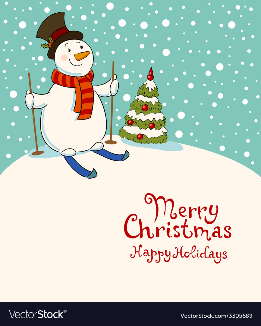 The snowman on skis cozy retro christmas card vector | Price: 1 Credit (USD $1)