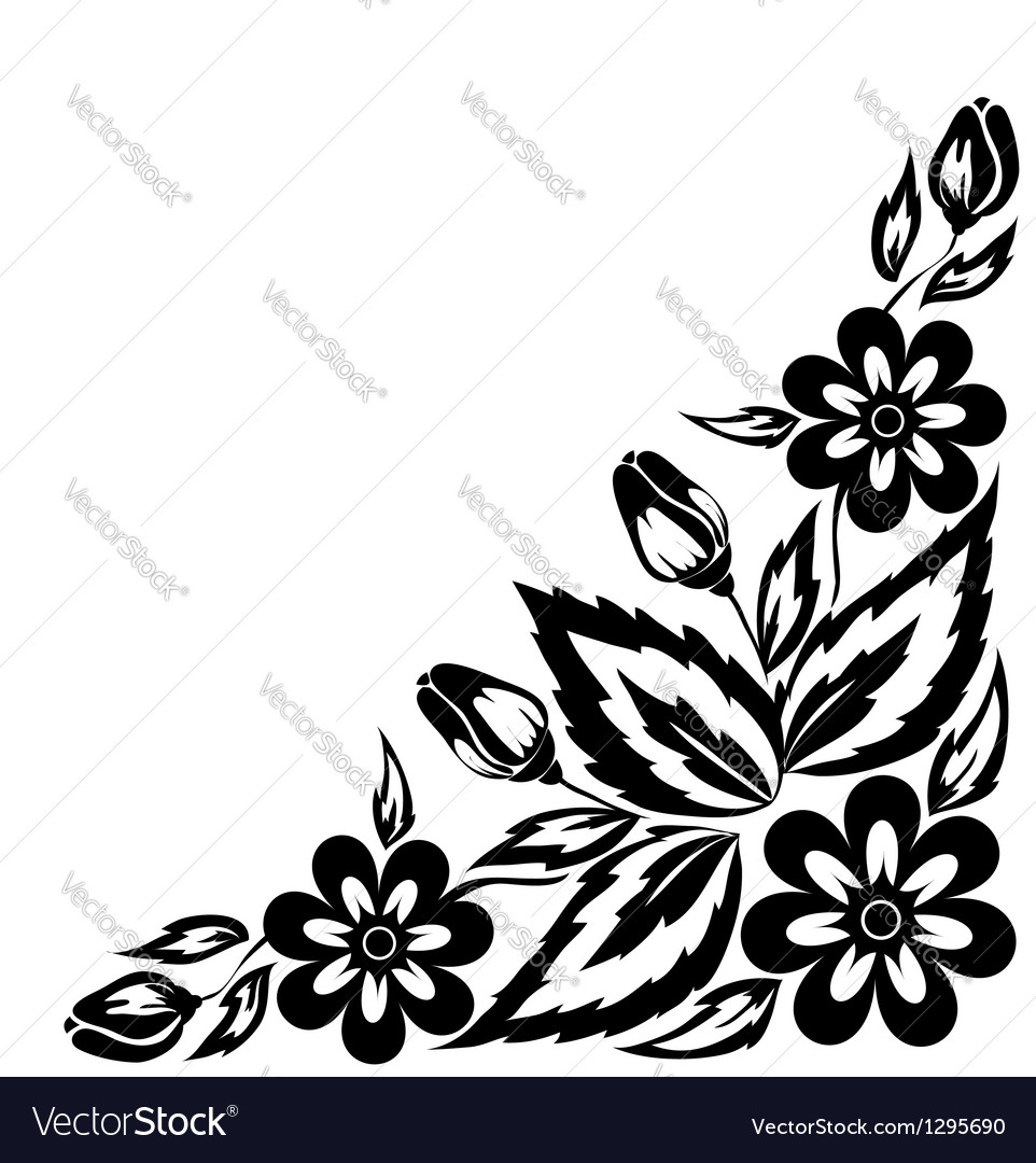 Black and white floral arrangement vector | Price: 1 Credit (USD $1)