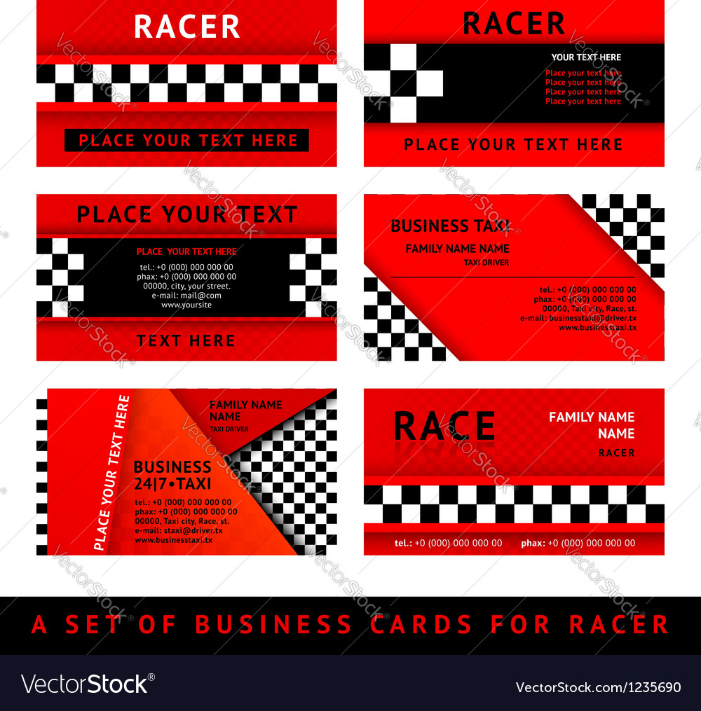 Business card driver race - third set vector | Price: 1 Credit (USD $1)