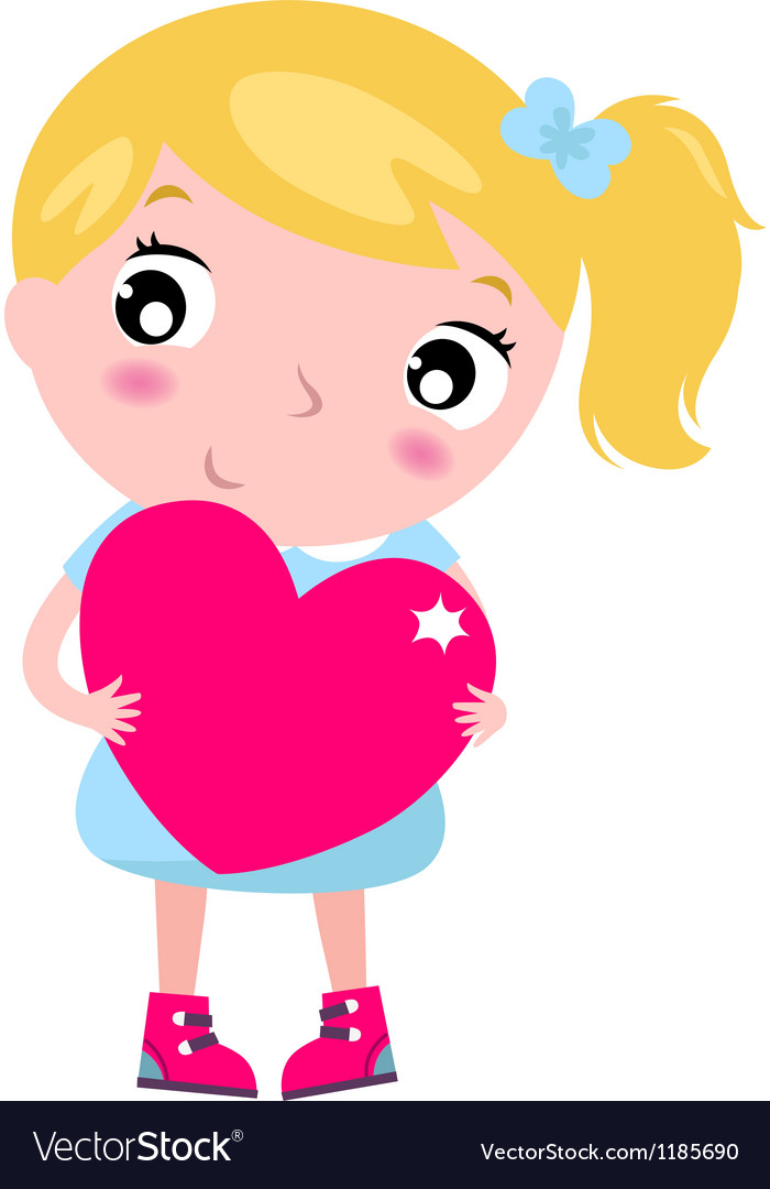 Cute blond little blond girl with pink heart vector   Price: 1 Credit (USD $1)