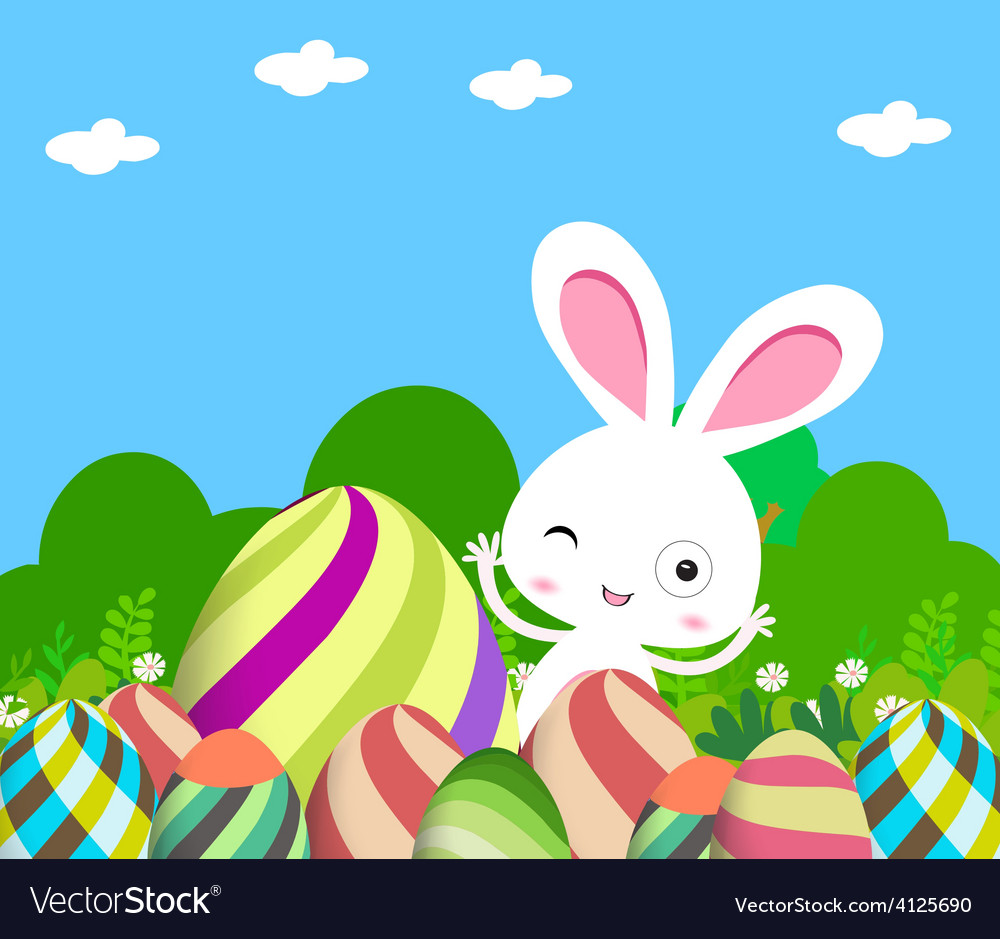 Cute bunny easter eggs vector | Price: 1 Credit (USD $1)
