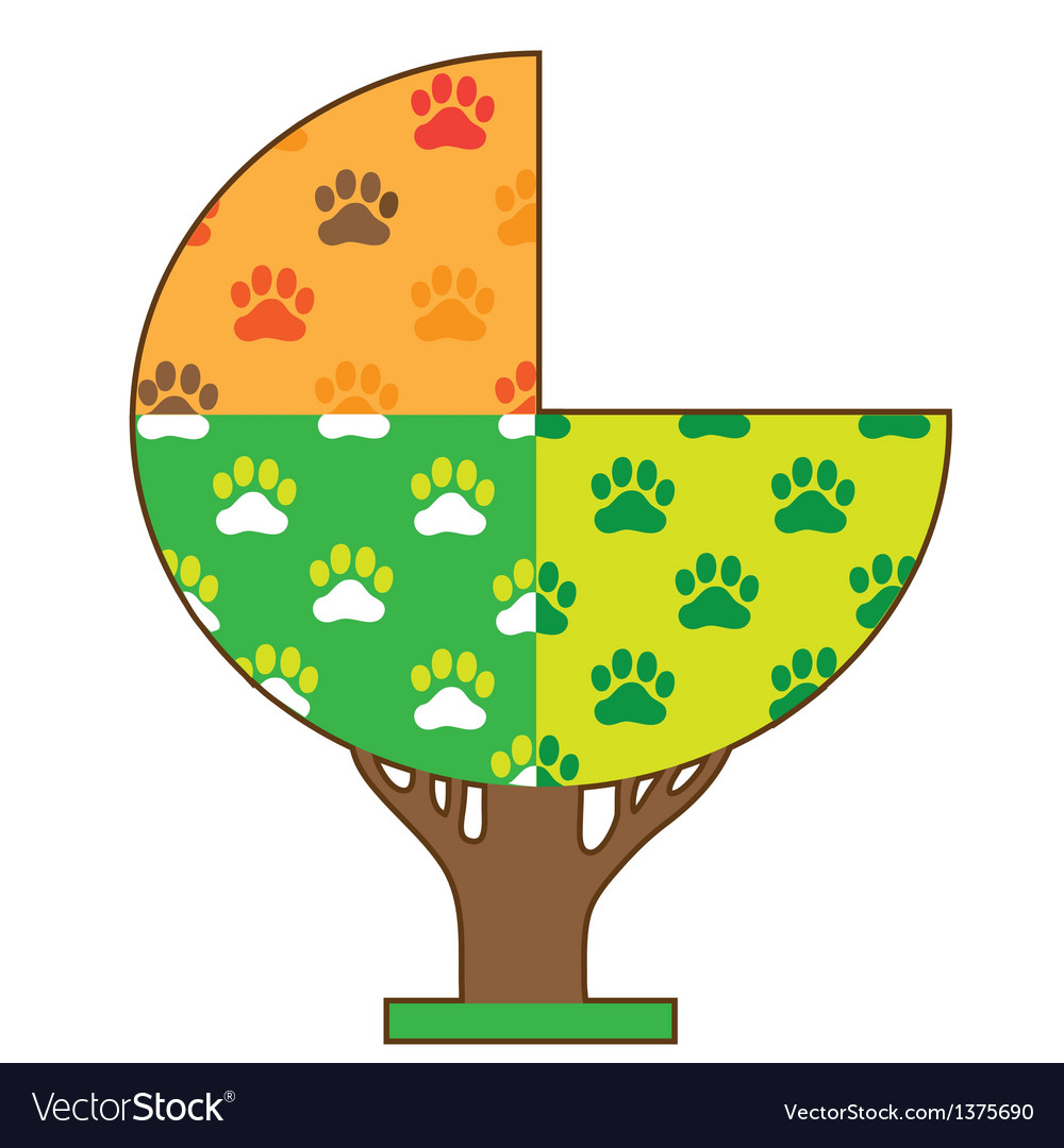 Dog paw seasons vector | Price: 1 Credit (USD $1)
