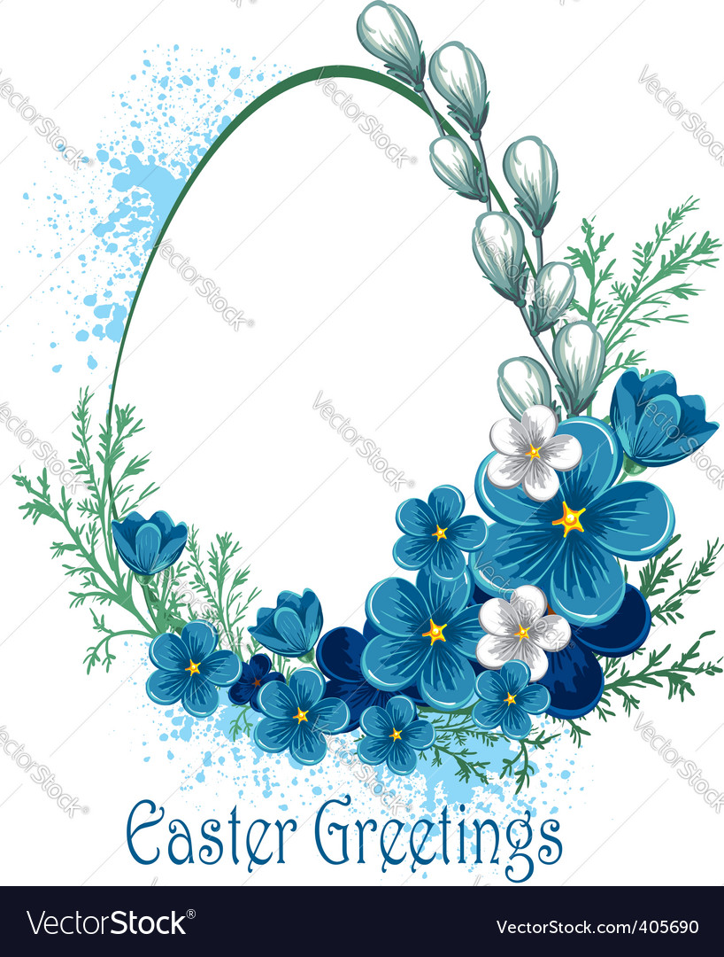 Easter banner with spring flowers vector | Price: 1 Credit (USD $1)