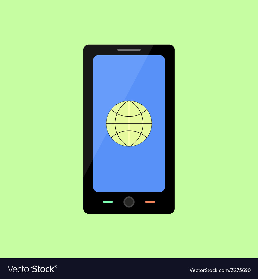 Flat style smart phone with internet icon vector | Price: 1 Credit (USD $1)