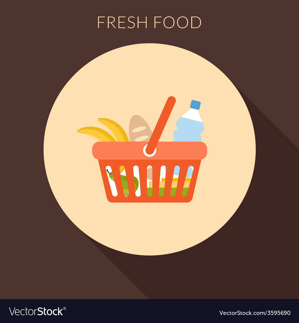 Fresh food concept basket with foods in fla vector