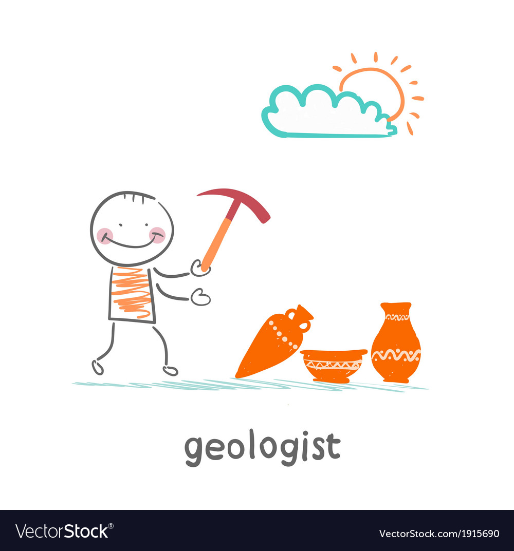 Geologists hold a hammer and stands near the vector | Price: 1 Credit (USD $1)