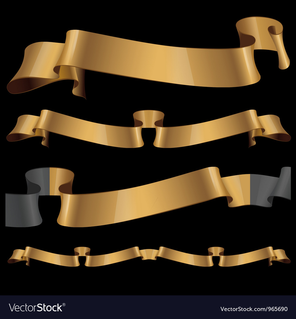 Gold glossy ribbons on a black background vector | Price: 1 Credit (USD $1)