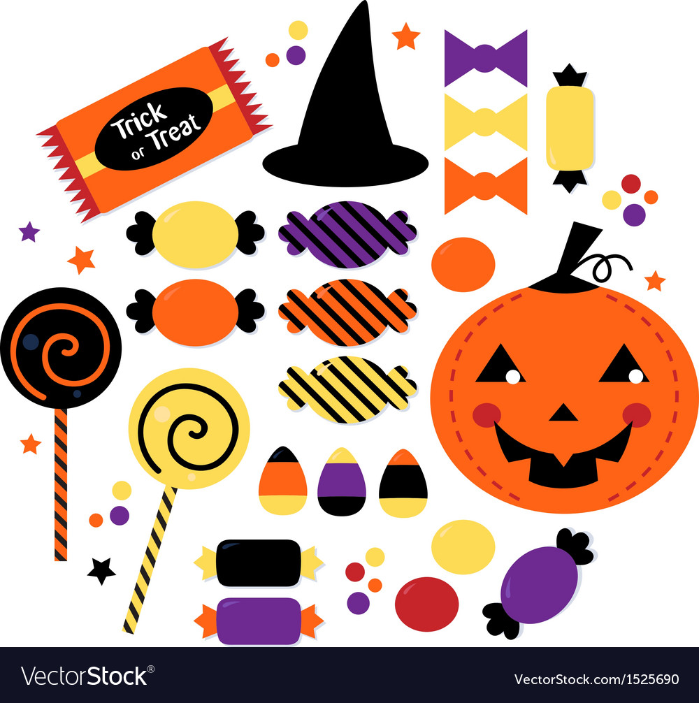 Halloween cute sweet candy collection vector | Price: 1 Credit (USD $1)