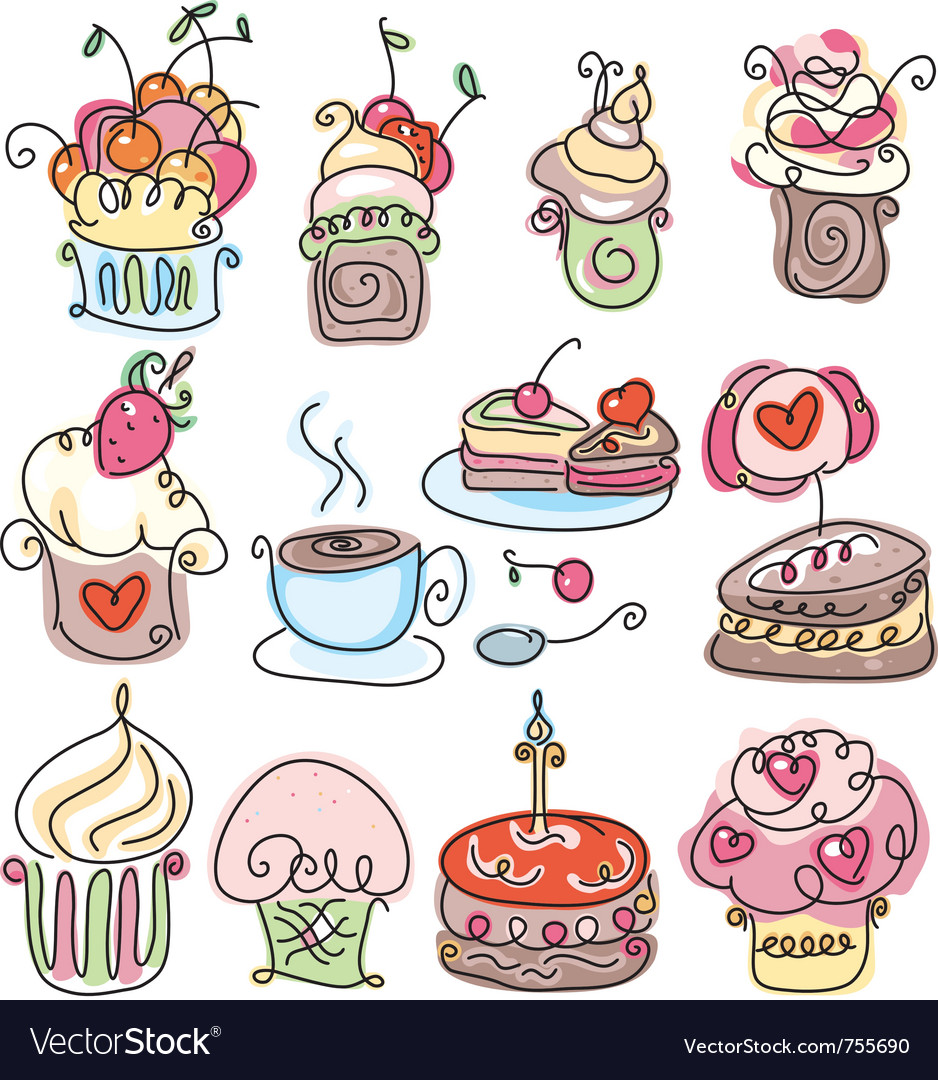 Icons of cupcakes vector | Price: 1 Credit (USD $1)