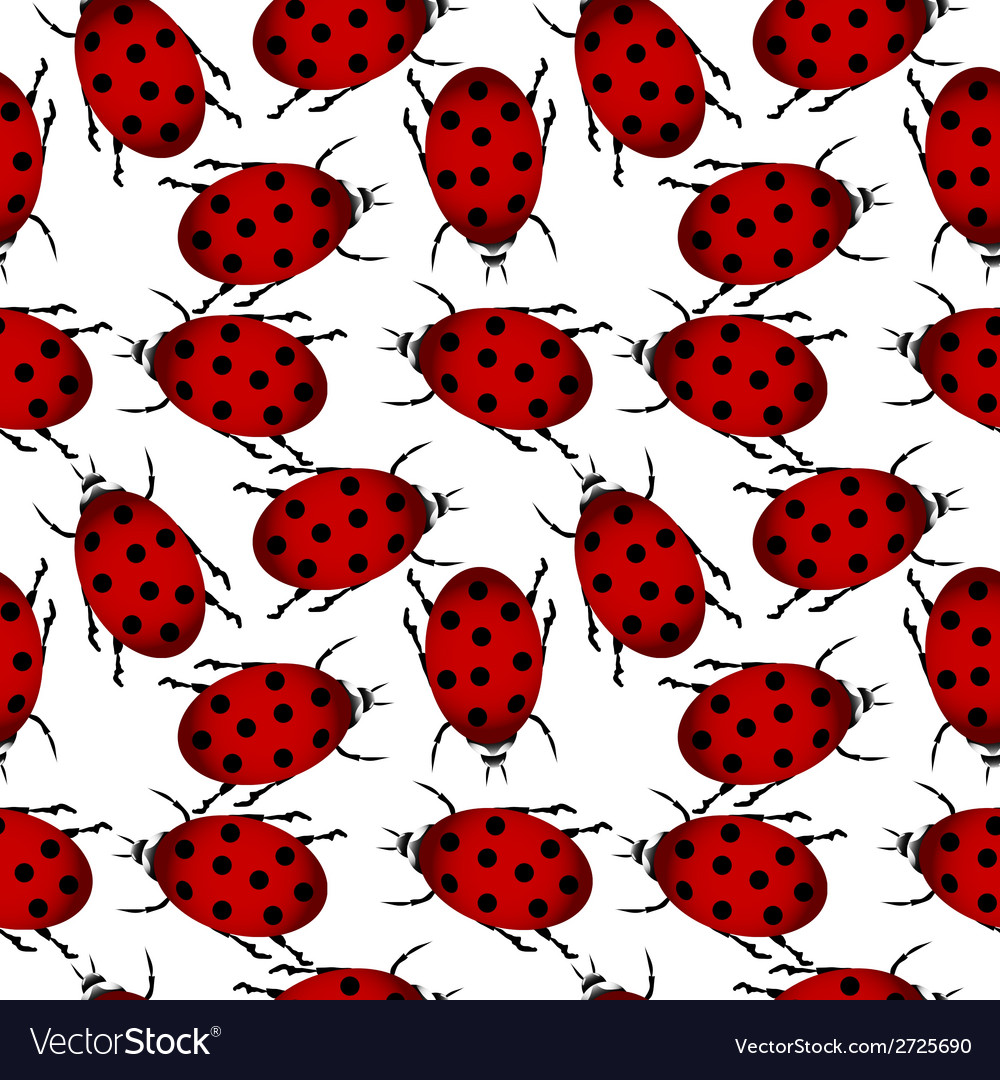 Ladybugs seamless pattern vector | Price: 1 Credit (USD $1)