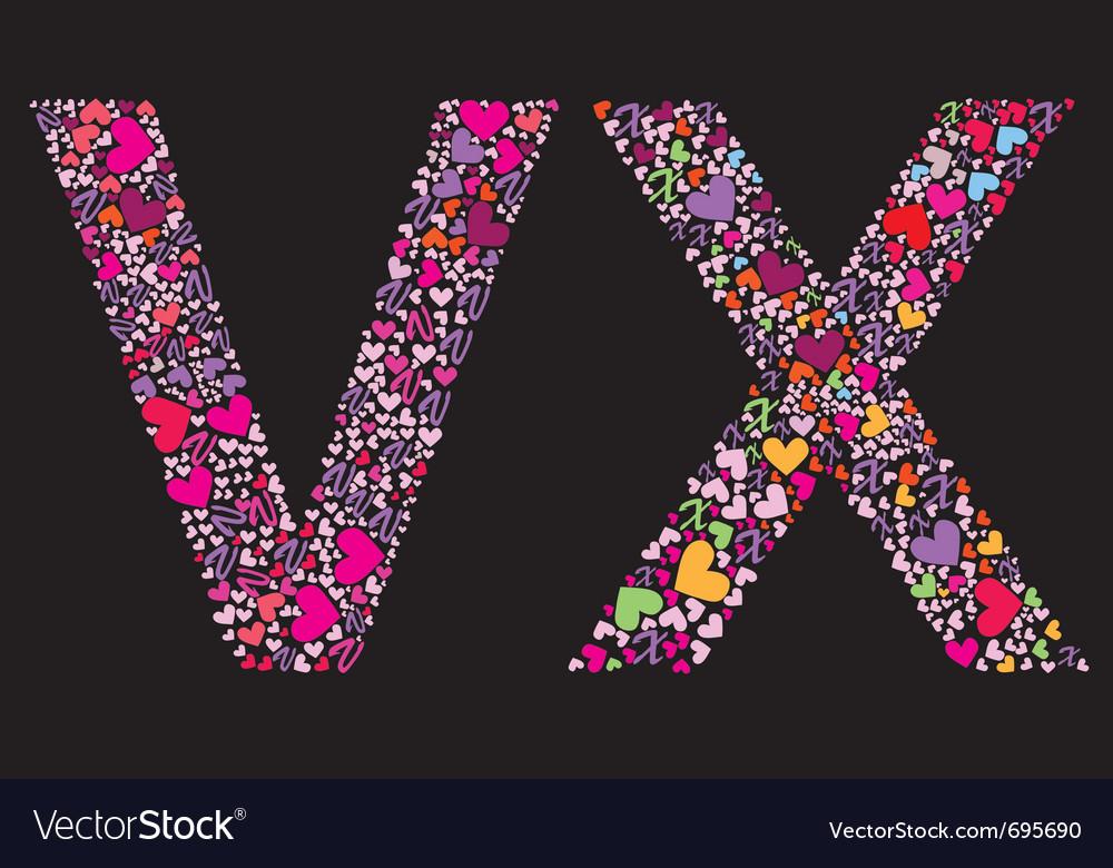 Letter v x valentine alphabet vector | Price: 1 Credit (USD $1)