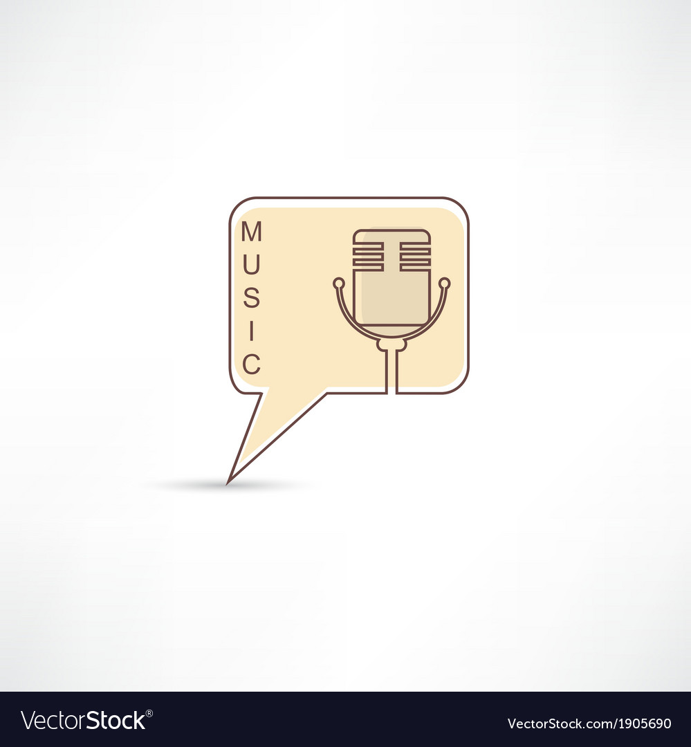 Microphone into brown speech bubble vector | Price: 1 Credit (USD $1)