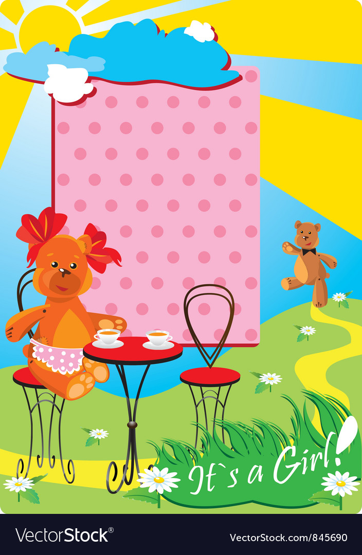 Portrait border with teddy bears for a baby girl vector | Price: 1 Credit (USD $1)