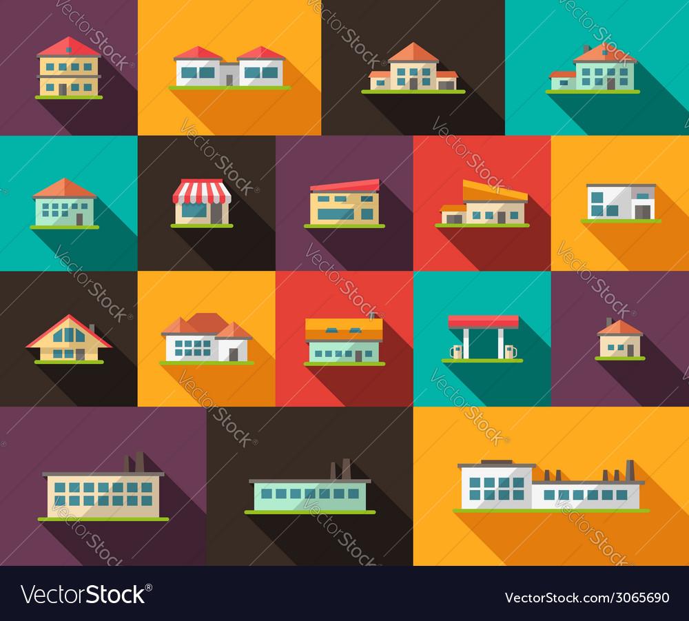 Set of flat design buildings pictograms vector   Price: 1 Credit (USD $1)