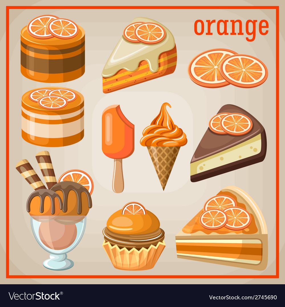 Set of sweets with an orange vector | Price: 3 Credit (USD $3)