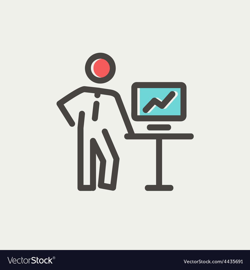 Business presentation thin line icon vector | Price: 1 Credit (USD $1)