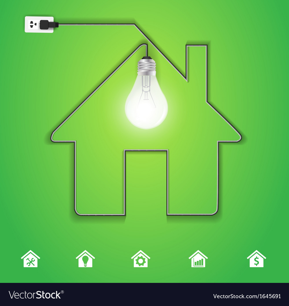 Home icon with creative light bulb vector | Price: 1 Credit (USD $1)