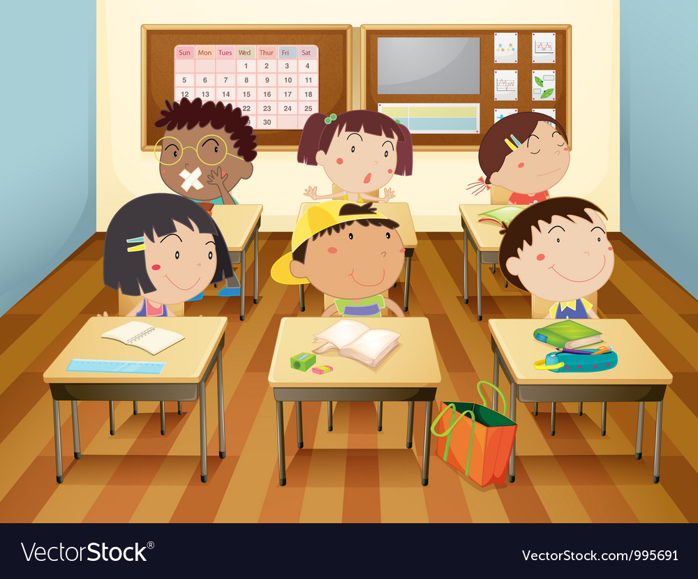 Kids in classroom vector | Price: 3 Credit (USD $3)