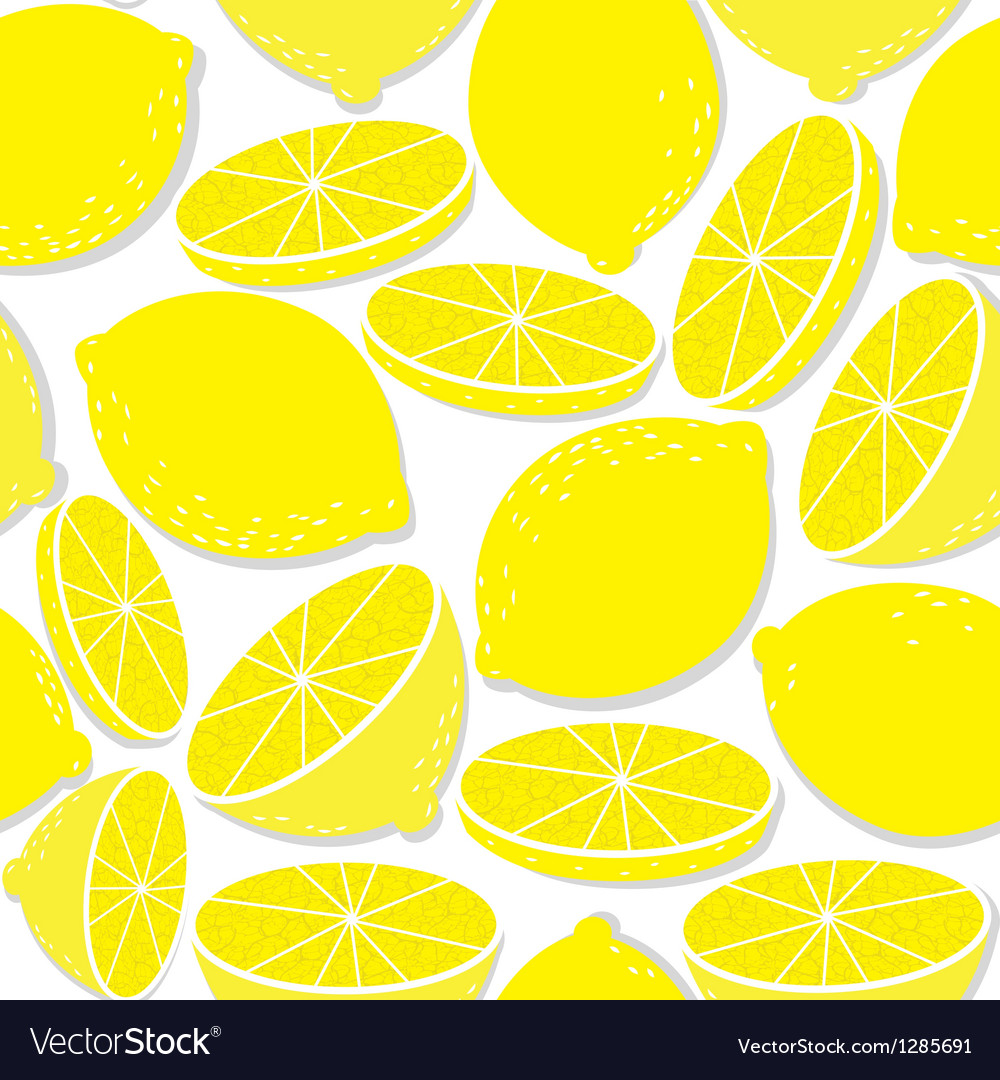Lemon seamless background isolated on white vector