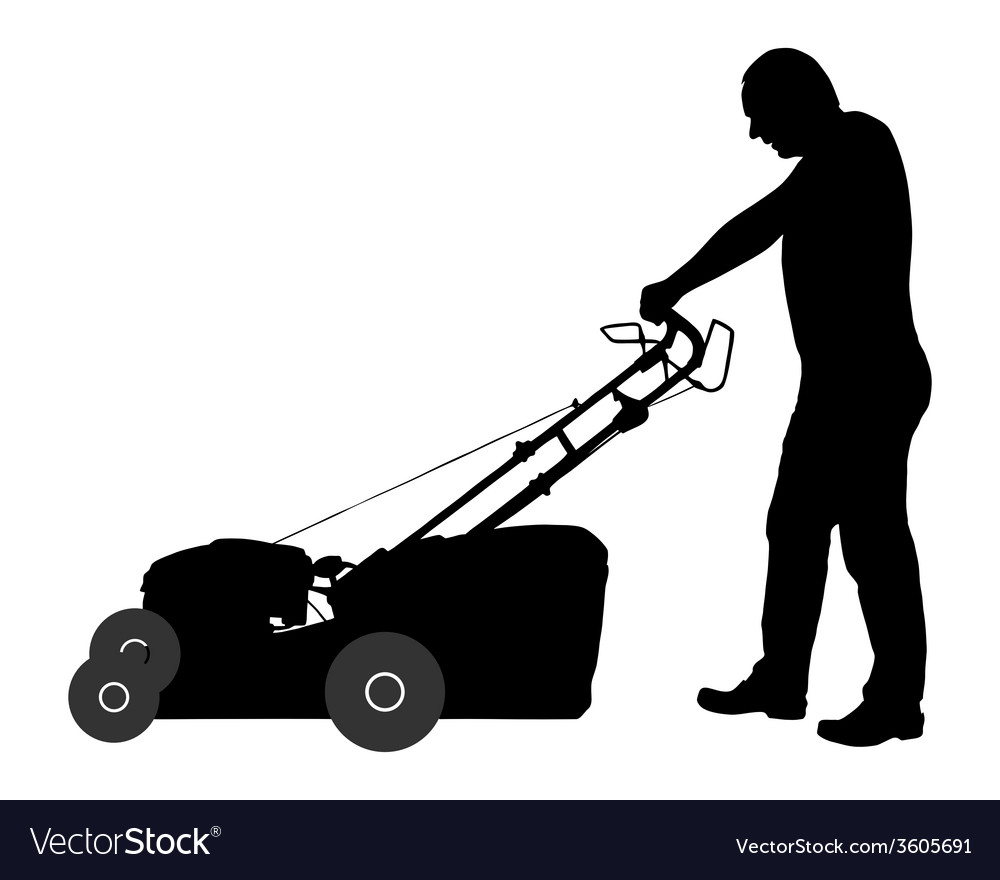 Man with lawn-mower vector | Price: 1 Credit (USD $1)