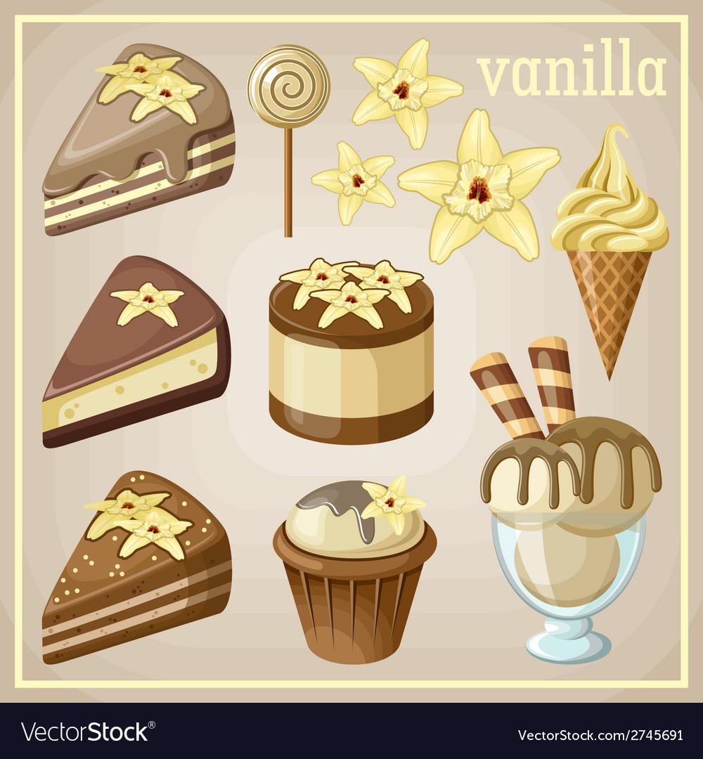 Set of sweets vanilla vector
