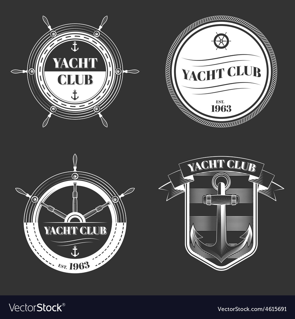 Set of yacht club logo vector