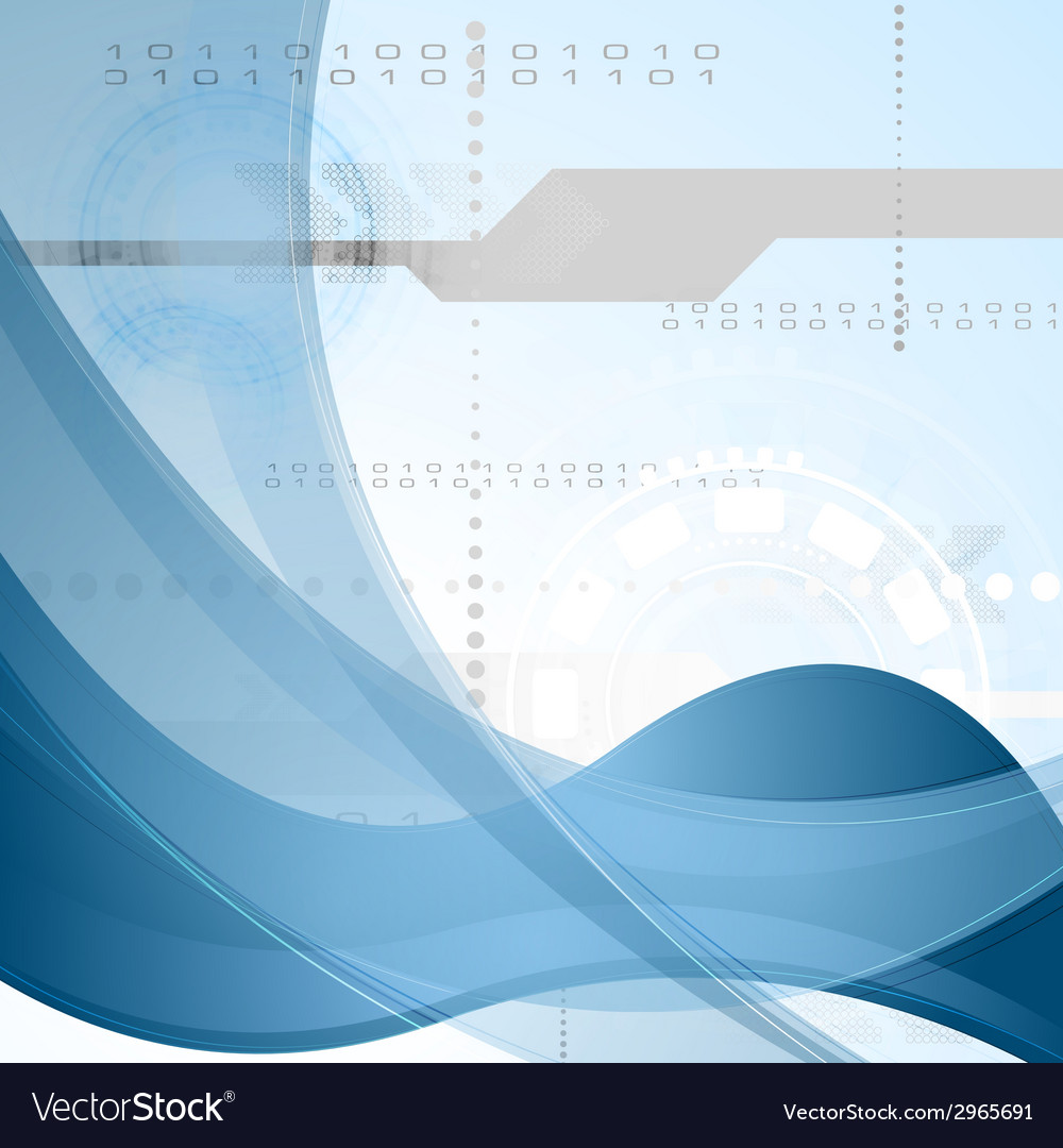 Technology background with blue waves vector   Price: 1 Credit (USD $1)
