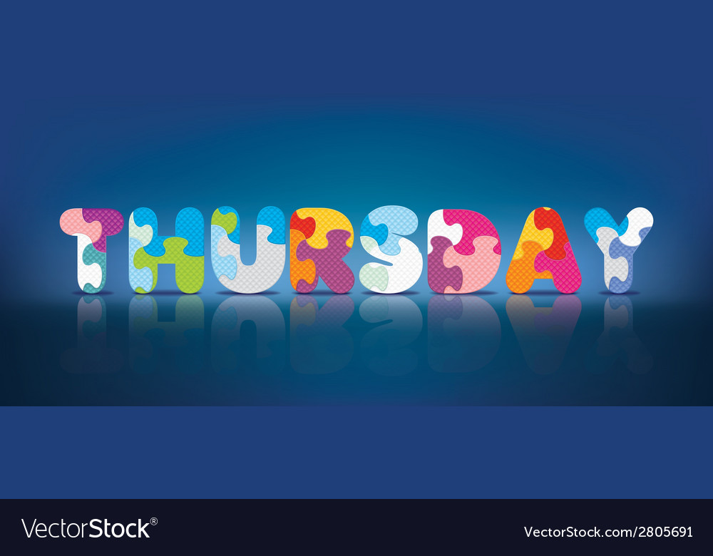 Thursday written with alphabet puzzle vector | Price: 1 Credit (USD $1)