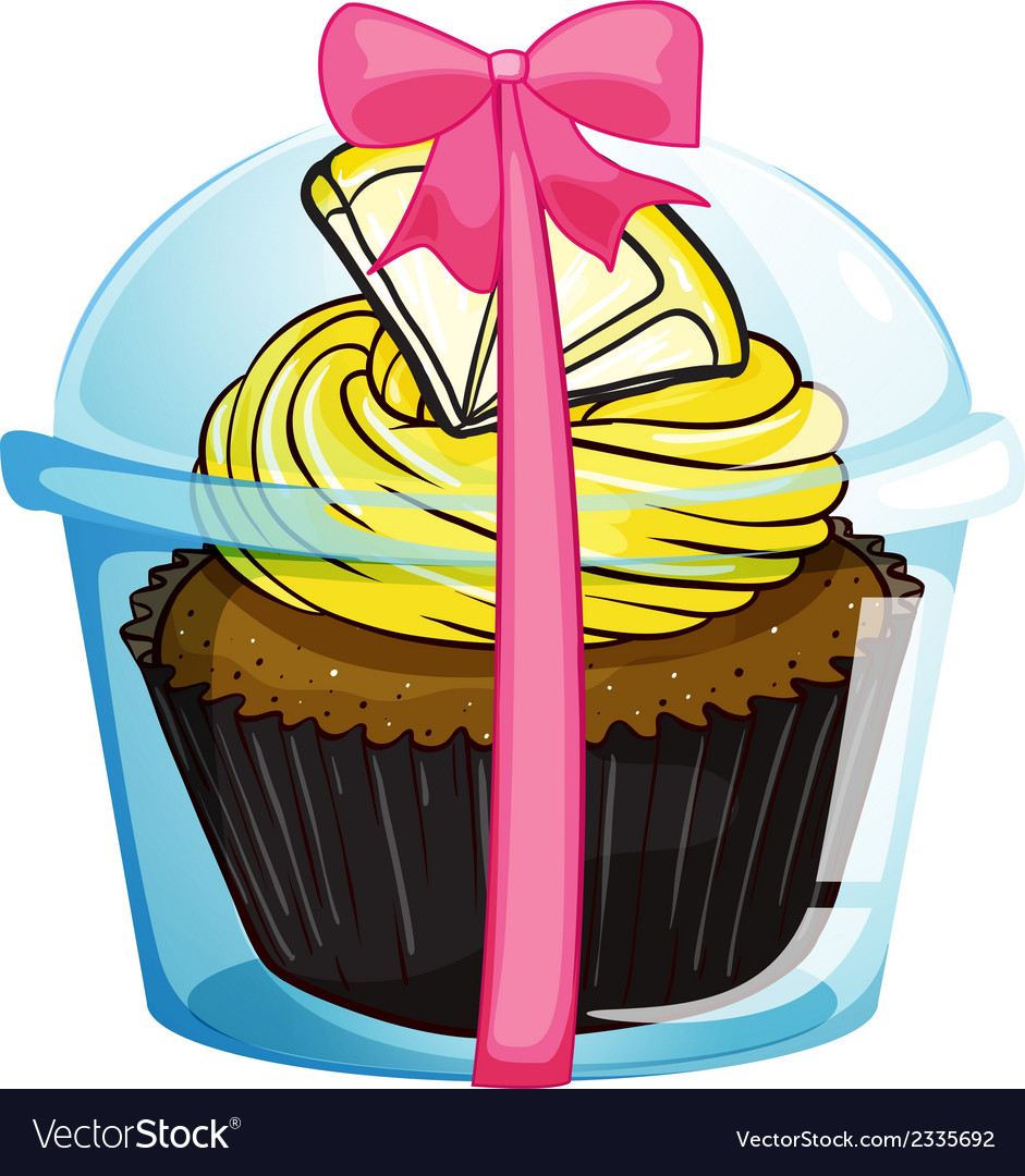 A cupcake with a yellow icing vector | Price: 1 Credit (USD $1)