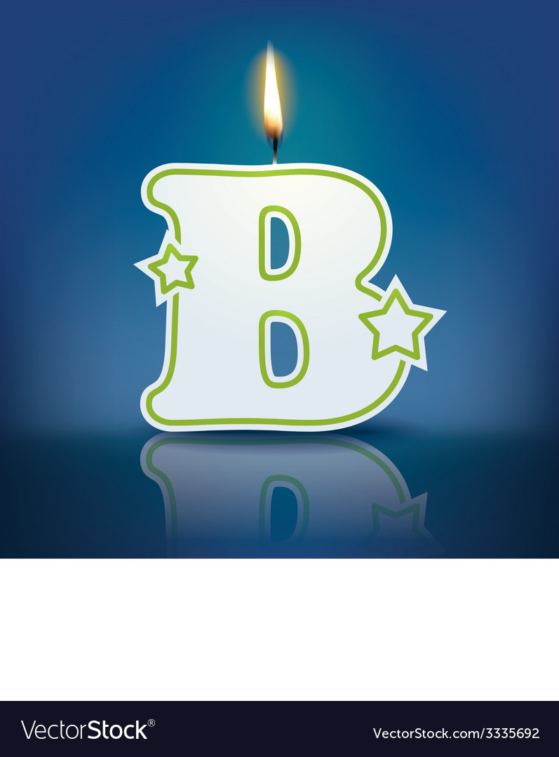 Candle letter b with flame vector | Price: 1 Credit (USD $1)