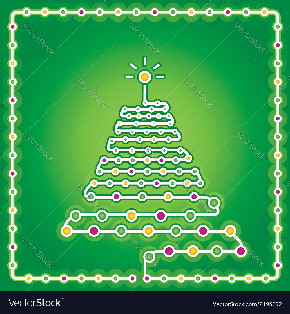 Christmas card with modern christmas tree vector | Price: 1 Credit (USD $1)