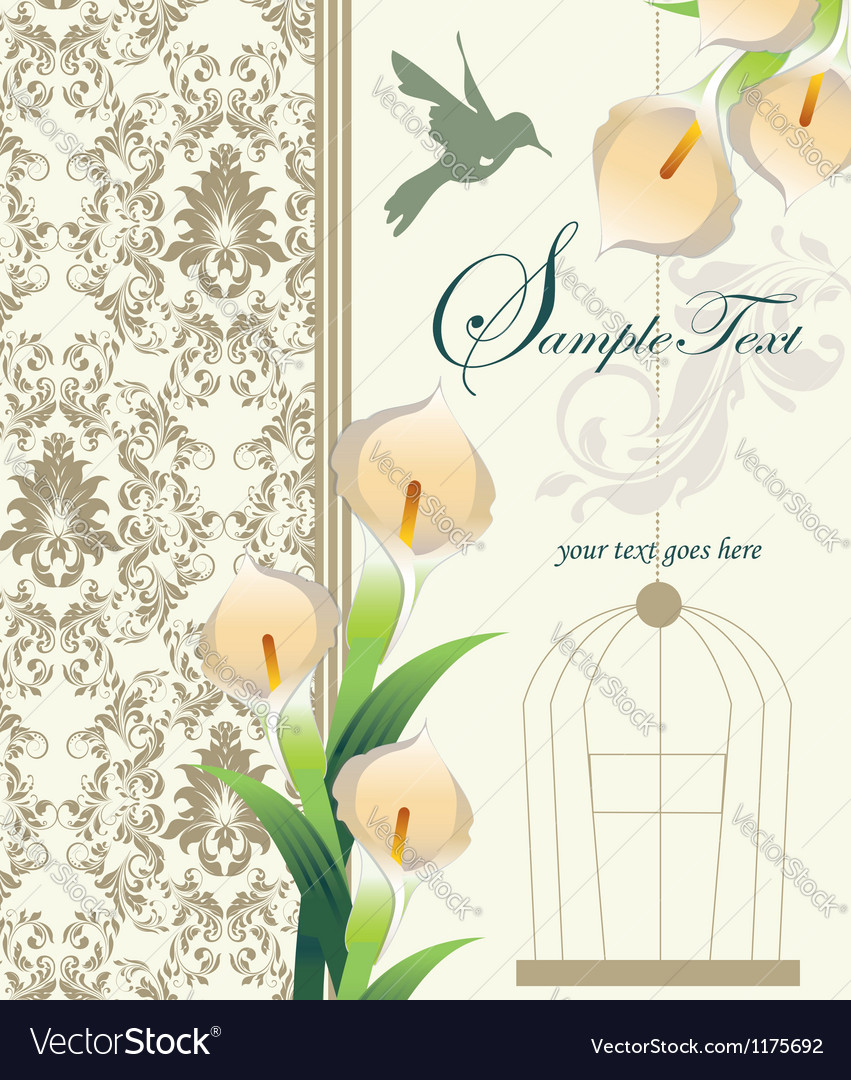 Damask wedding invitation ornate with calla lily vector | Price: 1 Credit (USD $1)